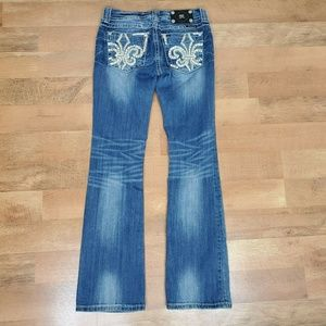 MISS ME Jeans Boot Cut Size 28 28x33 Studded Fleur